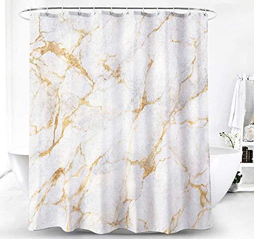 Ayniss Cortina baño con Tela de poliéster Marble Bathroom Curtain Washable Ducha y bañera Lavable a máquina con 12 Ganchos