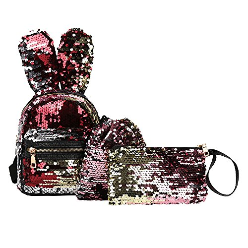 Shinehua 3-delige set sequin rugzak vrijetijdsrugzak daypacks backpack shiny bling glitter schooltas schoudertas messenger bag portemonnee mapje canvas trekkoord gymtas Eén maat rood