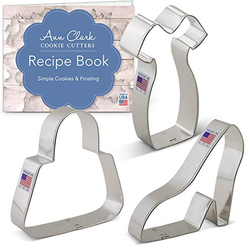 Ann Clark Cookie Cutters 3-Piece Ladies Dress Up Cookie Cutter Set with Recipe Booklet, Platform Shoe, Purse, Little Black Dress