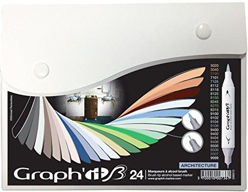 GRAPH'IT Brush Set de 24 Marqueurs double pointe - Architecture Colors