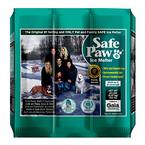 Safe Paw, Child Plant Dog Paw & Pet Safe Ice Melt -22lb, 100% Salt Chloride Free -Non-Toxic, Vet Approved, No Concrete Damage, Fast Acting Formula, Last 3X Longer