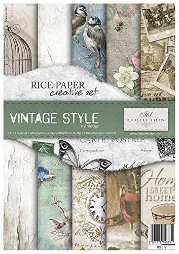 ITD Collection - Reispapier Kreativset A4 Decoupage Rice Paper Sheet 29,7 x 21 cm Mehrfarben (Vintage Style)