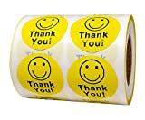Yellow Smiley Face Thank You Stickers 1.5 inch Happy Face Stickers Thank You Mailing Labels Smile Face Stickers Roll 500 pcs
