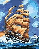 Pintura de decoración del hogar / pintura por números / pintura acrílica de alta calidad lienzo de lino preimpreso digital regalo especial-barco de vela