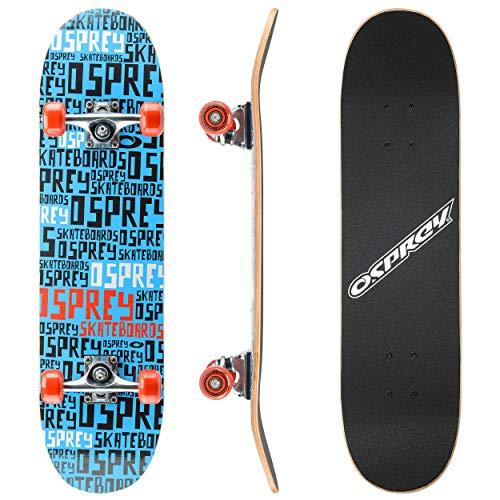 Osprey Kids Skateboard, 31 Inch Double Kick Skateboard for Beginners with Maple Deck, for Boys & Girls, Multiple Designs, Black/Blue