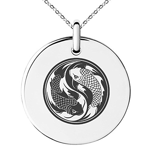 Tioneer Stainless Steel Koi Fish Yin Yang Symbol Small Medallion Circle Charm Pendant Necklace