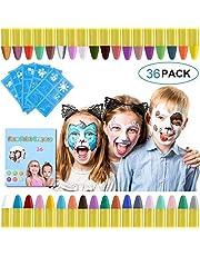 URAQT schmink voor kinderen, 36 kleuren schminkkrijtjes met 30 stuks schildersjablonen, veilige niet-giftige bodypaintkrijtjes, make-up voor Pasen/Halloween/Kerstmis/Cosplayfeest