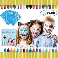 URAQT Crayones de Pintura Facial,Juego de Pintura Facial de 36 colores Para Niños para el Cuerpo con 30 Plantillas de...