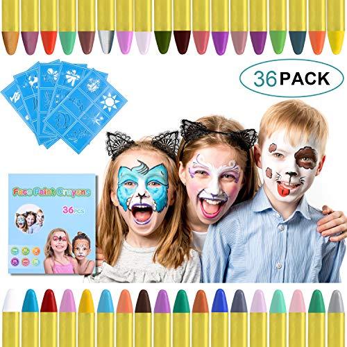 URAQT Crayones de Pintura Facial,Juego de Pintura Facial de 36 colores Para Niños para el Cuerpo con 30 Plantillas de Pintura, Perfecto para Halloween/Navidad/Cosplay de maquillaje