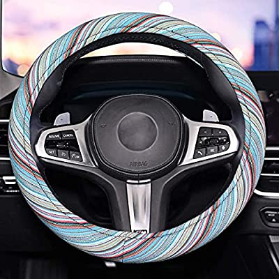 Blue Steering Wheel Cover for Men.Universal 15inch Sweat Absorption Steering Wheel Cover with Coarse Flax Cloth SWC03 (Blue)