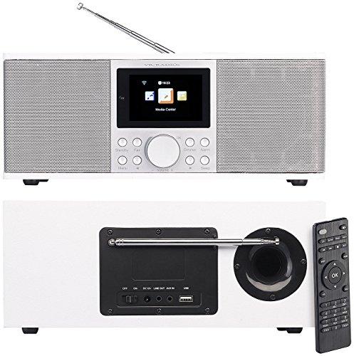 VR-Radio WLAN Internetradio: Stereo-Internetradio mit DAB+, FM, Bluetooth & Wecker, 32 Watt, weiß (DAB Radio mit Fernbedienung)
