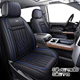 Aierxuan Silverado Sierra Car Seat Covers Full Set with Waterproof Leather, Fit for 2007-2021 1500/2500 HD / 3500 HD Crew,Double,Extended Cab or Pick-up Truck(Black and Blue)
