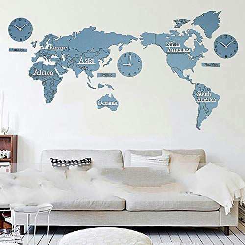 3D Grote Maat Planken Clock Creative Wall Clock World Map creatieve doe woonkamer aan de muur decoratieve Muursticker Klok Wall Clock 1.3M Lange (Color : Blue, Size : Size: 130Cm X 66.5Cm)