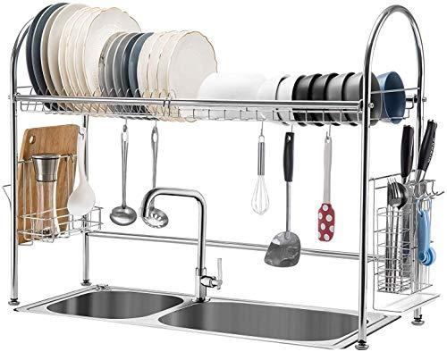 FEE-ZC Praktisch und praktisch über der Spüle Geschirrtrockner, 304 Edelstahl Großraum-Abtropffläche Geschirrständer mit Utensilienhalter und Schneidebretthalter für die Küchenarbeitsplatte