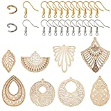 PandaHall Lot de 48 grandes boucles d'oreilles tibétaines en bois avec 48 anneaux ouverts et 48 crochets de boucles d'oreilles pour la fabrication de bijoux