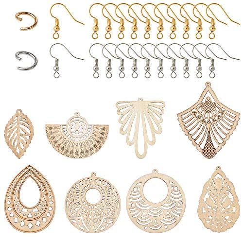 Craftdady - Juego de pendientes de madera de filigrana sin terminar con 8 estilos de madera geométrica, pendientes de pescado, anillos de salto para hacer pendientes