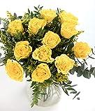 Ramo 12 Rosas Amarillas, Flores Naturales a Domicilio Blossom®   Ramo de Rosas Naturales a Domicilio Frescas y Recién Cortadas   Sant Jordi, San Valentín, Día de los Difuntos   Entrega Gratis