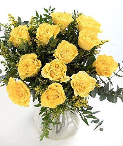 Ramo 12 Rosas Amarillas, Flores Naturales a Domicilio Blossom® | Ramo de Rosas Naturales a Domicilio Frescas y Recién Cortadas | Sant Jordi, San Valentín, Día de los Difuntos | Entrega Gratis