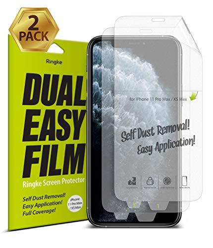 Ringke Dual Easy Film [2 Pack] voor iPhone 11 Pro Max Scherm Beschermer, Hoge Resolutie [Anti-Smudge Coating] Gemakkelijke Applicatie Beschermhoes voor iPhone 11 Pro Max (2019) / XS Max (2018)