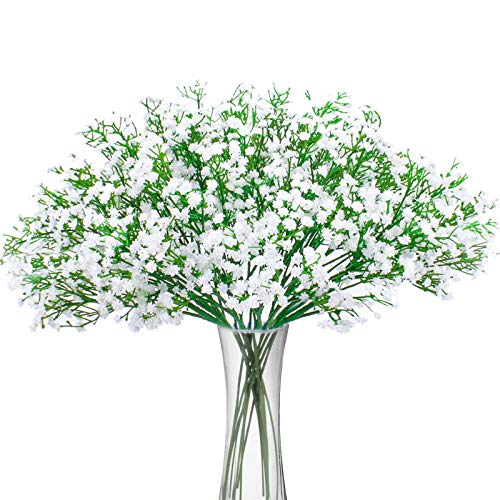 BOMAROLAN Artificial Baby Breath Flowers Fake Gypsophila Bouquets 12 Pcs Fake Real Touch Flowers for Wedding Decor DIY Home Party(White)