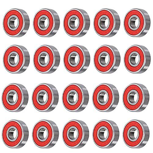 Nicejoy Los Cojinetes del Patín, Monopatín Accesorios, ABEC-9 De Repuesto Blindado Doble Rodamientos De Bolas 608rs- Partes Rojas 20pcs