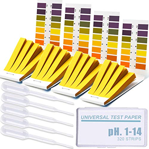 Litmus PH Test Strips 320 Strips, Professional Universal pH.1-14 Test Paper with Storage case & Test Droppers, for Teaching, Student, Chemistry Experiment, Saliva Urine Water Soil & Diet pH Monitoring
