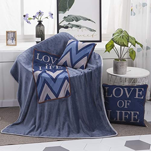 Pillows Love Of Life Pattern Multifunctional Plush Blanket Square Pillow Quilt Office Car Pillow Cushion, Size : L Asun