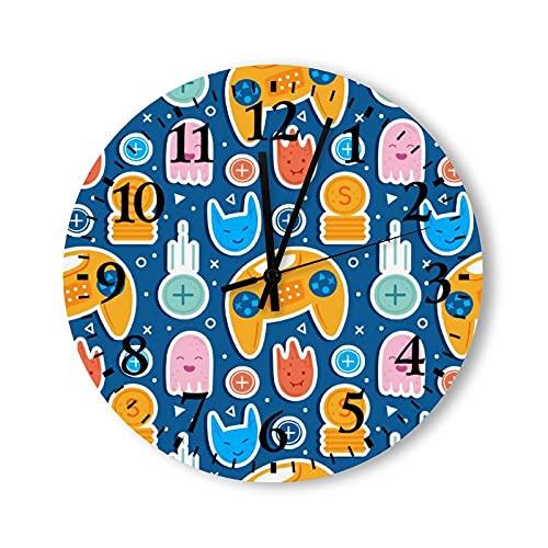Reloj de pared de madera rústico de 15 pulgadas, funciona con pilas, con joystick, reloj de pared redondo vintage, lindo para habitaciones de niños, decoración para niños, dormitorios y adolescentes