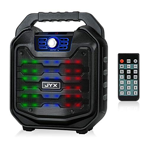 JYX Wireless Portable Karaoke Machine Bluetooth Speaker with Sound Activated Lights and Remote, Support MIC Input, FM Radio, REC, USB/TF Card for Indoor & Outdoor Party