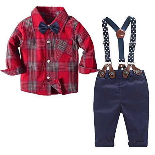 Traje de bebé niño Ropa Formal de Boda Camisa a Cuadros para bebés Varones + Pajarita + Tirantes + Pantalones Conjunto de 4 Piezas Traje de cumpleaños (Rojo, 3-4 años)