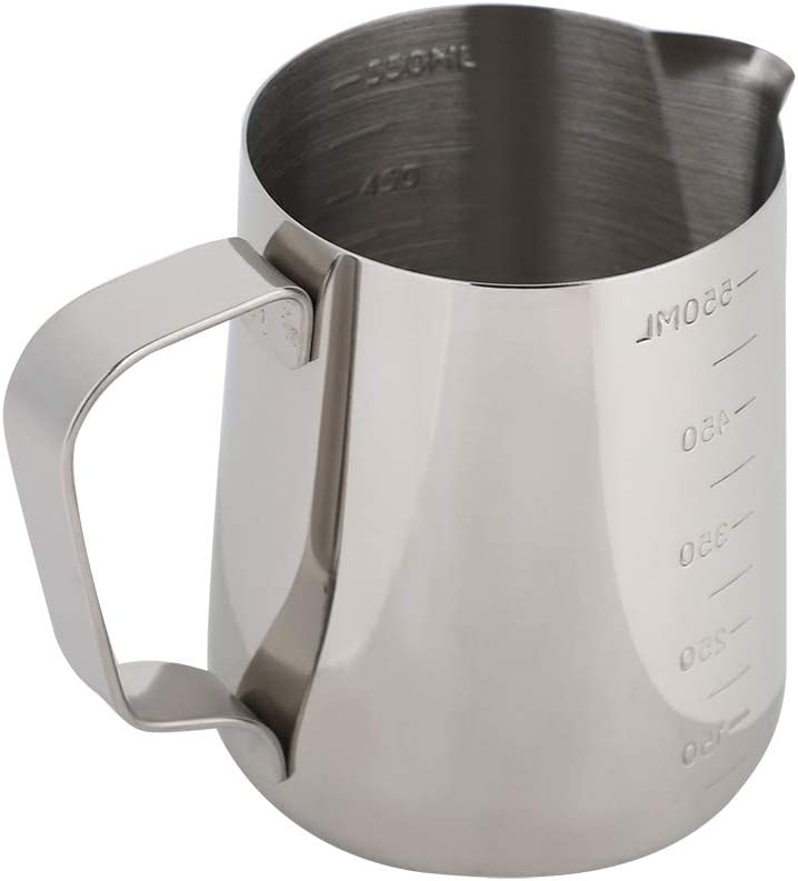 Milk Frothing Pitcher with Handle, Stainless Steel Espresso Cups