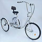 MOMOJA Triciclo para Adultos 24' 6 Velocidades Bicicleta para Adultos 3 Ruedas (Blanco)
