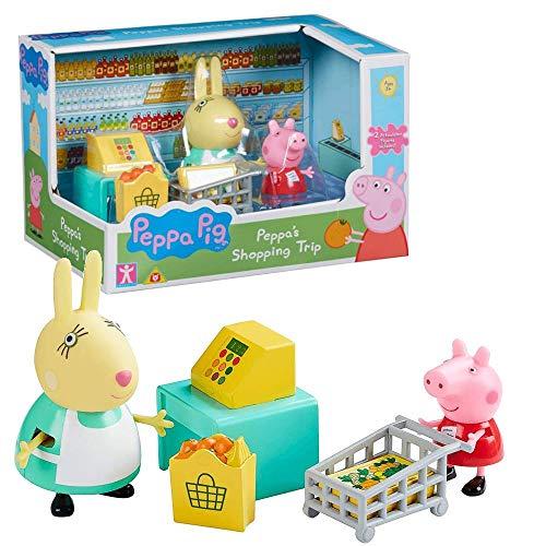 Peppa Pig Viaje Compras | Conjunto Juguetes Figura Peppa & Señora Coneja