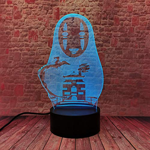 Spirited Away No Face 3D LED Anime Lamp 16 Colors Change Remote Control Kids Bedroom Night Light