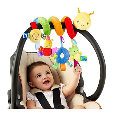 LIANGLIDE Infant Stroller Toy, Infant Baby Worm Crib Bed Around Rattle Bell Cartoon Insect Stroller Hanging Stuffed Wrap Spiral Safety Plush Toys for Baby Boys and Girls