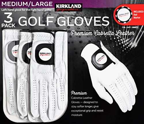 Kirkland Signature Men's Golf Gloves Premium Cabretta Leather,...