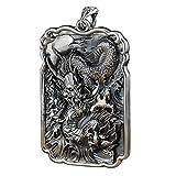 THTHT S925 Vintage Silver Necklace para Mujeres Socorro Cuadrado Dragón Patrón Creative Grabado Clásico Y Elegante Personalidad Singular Don Unisex