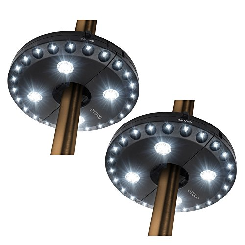 OYOCO Patio Umbrella Light 3 Brightness Modes Cordless 28 LED Lights at 200 lumens-4 x AA Battery Operated,Umbrella Pole Light for Patio Umbrellas,Camping Tents or Outdoor Use(28LED Bright White)