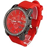 ShoppeWatch Mens Large Face Wrist Watch Unisex Silicone Band Reloj para Hombre Red Dial SW1091RED-108
