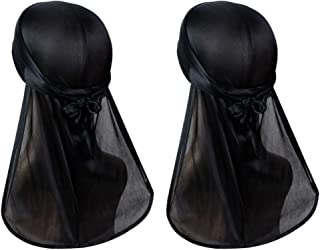 ASHILISIA Silky Durag Headwraps (2PCS) with Extra Long Tail and Wide Straps for 360 Waves