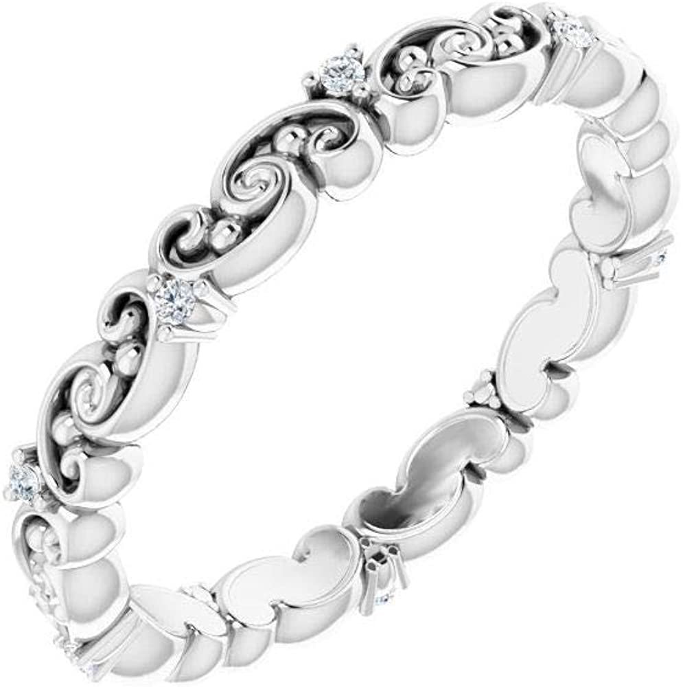 Solid Platinum .05 Cttw Diamond Eternity Ring Anniversary Stackable Wedding Band - Size 6.5 (Width = 2.2mm)