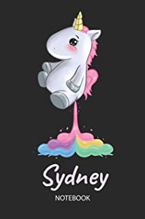 Sydney - Notebook: Blank Lined Personalized & Customized Name Rainbow Farting Unicorn School Notebook / Journal for Girls & Women. Funny Unicorn Desk ... School Supplies, Birthday & Christmas Gift.
