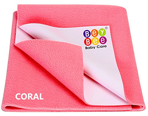 BeyBee Bed Protector Sheet (Small (50cm X 70cm), Salmon Rose)
