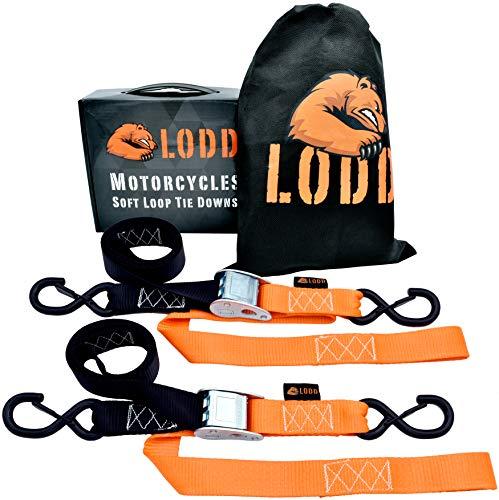 LODD - Premium Motorrad Spanngurte mit kunststoffbeschichteten Sicherheitshaken, integrierte Softloops, getestet 1100 kg, Softbag (für Moto Cross, Enduro, Quad)