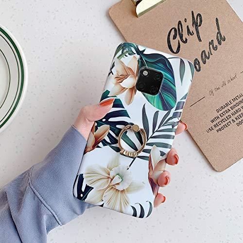 Kompatibel mit Huawei Mate 20 Pro Hülle Schutzhülle [Ring Ständer],Handyhülle Huawei Mate 20 Pro Blumen Blätter Muster Ultradünn Weiche Silikon Hülle TPU Bumper Rückschale Case Cover, Weiße Blume