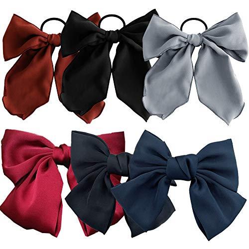 6 Stück große Haarschleifen Clip Haarschleife mit Elastic Hair Band für Frauen elegante handgemachte Stoff Haarspangen Haarspangen Zubehör (weinrot, dunkelblau, schwarz)