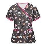 YANFANG Camisa De Blusa Uniforme Trabajo con Cuello Manga Corta A La Moda para Mujer Mujers Basiccon Botones 100% AlgodóN Camisetas En V Camisas Vestir Larga Casual Oficina BáSico