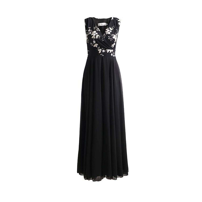WYYY ドレス 夏の季節 ロングスカート ノースリーブ V襟 フラッシング ネット糸 ブラック セレブリティ シフォンドレス ビーチスカート (サイズ さいず : XL)