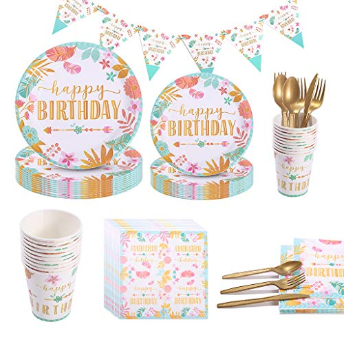 Amycute 81 piezas de vajilla de fiesta de cumpleaños, Happy Birthday Party...