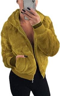 Macondoo Women Long Sleeve Fuzzy Coat Hoodie Zipper Jacket